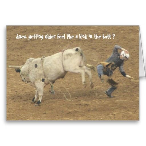 Funny Rodeo Over The Hill Birthday Bull Rider Card