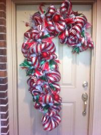 Candy Cane Door Decoration. Deco mesh wreath | Wreaths ...