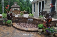 patio and waterfall combo made of Oyster Blend Nicolock ...