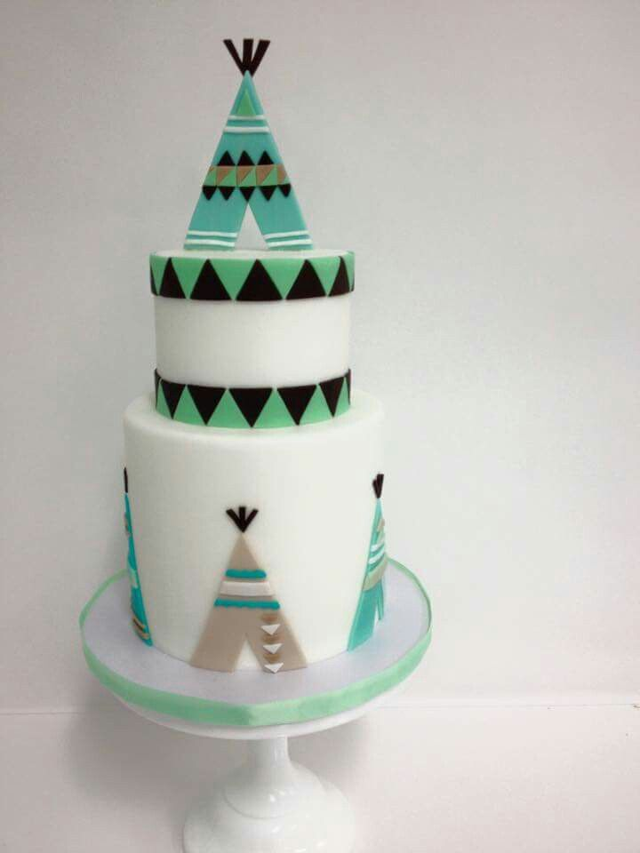 Teepee themed cake  great cakes  Pinterest  Teepees Themed cakes and Cakes