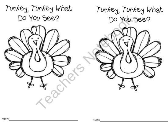 FREE Turkey, Turkey What Do You See? from Fun in ECSE on