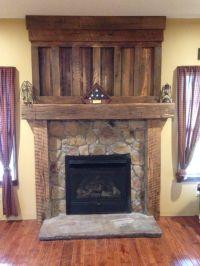 Barnwood mantel from reclaimed barn wood timbers. Veneer