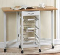 Details about KITCHEN TROLLEY FOLD DOWN SIDES EXTENDED ...