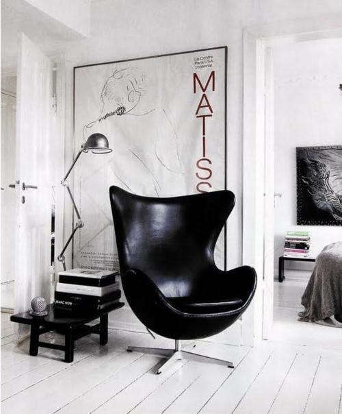 black egg chair  Matisse  Sillas y sillones  Pinterest
