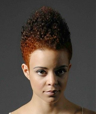 A short brown curly afro ethnic coloured multi-tonal hairstyle by Nicky Oliver