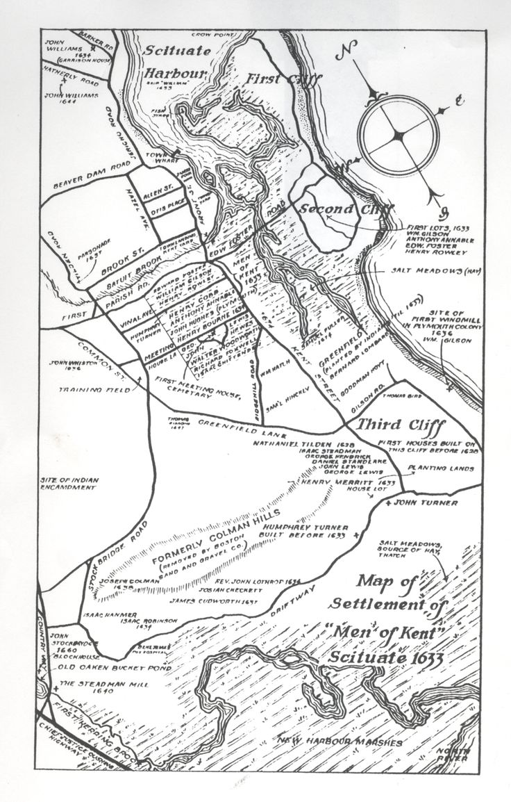 Neat map of Scituate, MA with key dates from the Scituate