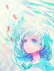 anime girl underwater with fish