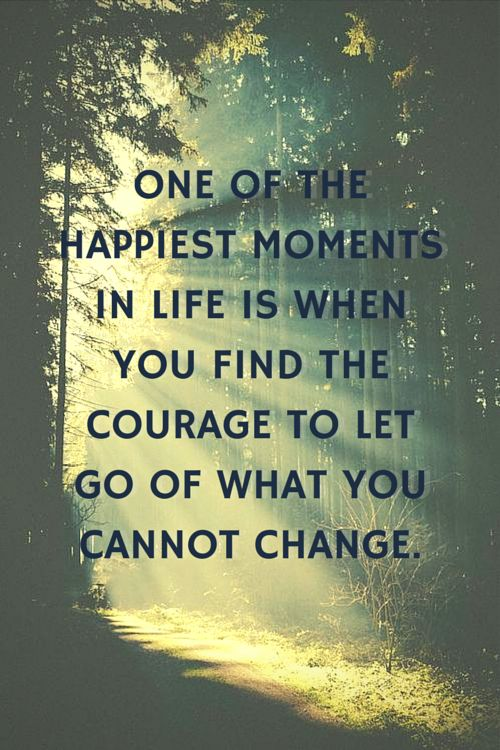 One of the happiest moments in life is when you find the courage to let go of what you cannot change. Click on this image to see the biggest selection of life tips and positive quotes!: