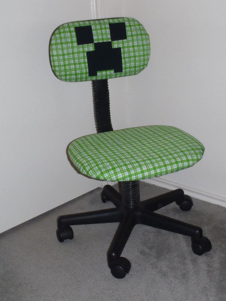 Desk chair recovered to make a Minecraft Creeper Made my