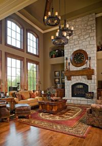 wonderful 2-story family room with stone fireplace and 3 ...