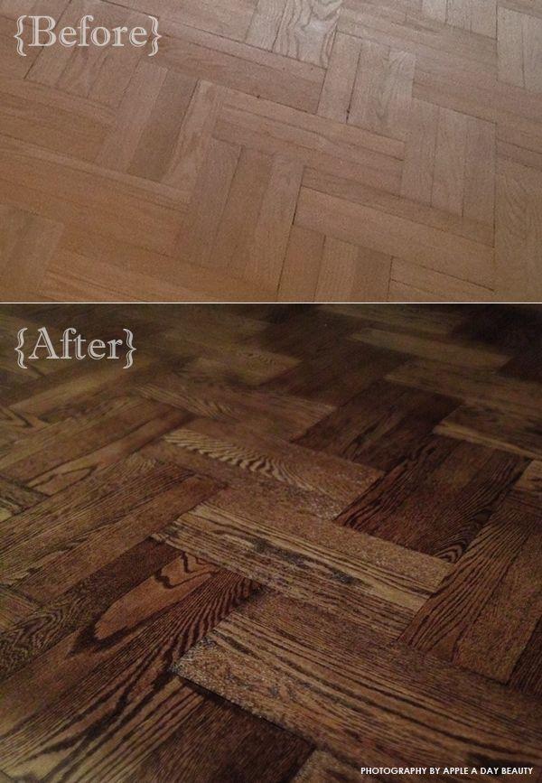 Mixed floor stains  Minwax Ebony and Jacobean  Apple a