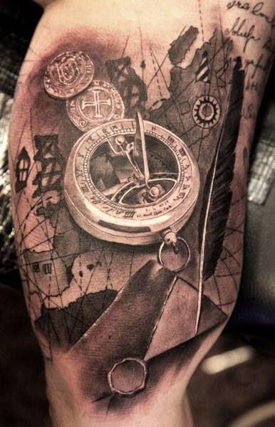 Sundial Tattoo Amazing Detail  Tattoo Stuff Pinterest
