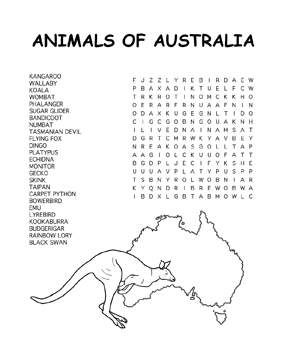 Kids printable activities, Word search and Australia on