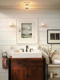 Farmhouse Bathroom: White sink inset in antique dresser ...