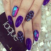 purple oval medium length nails