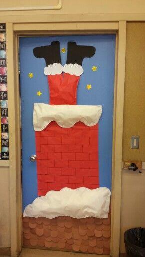 Santa & chimney school door decoration