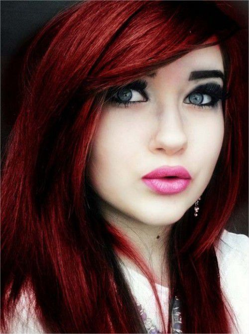 Unique Emo Dark Red Hair Color 2015 Trends with heavy bangs and Layers I love the color  Love