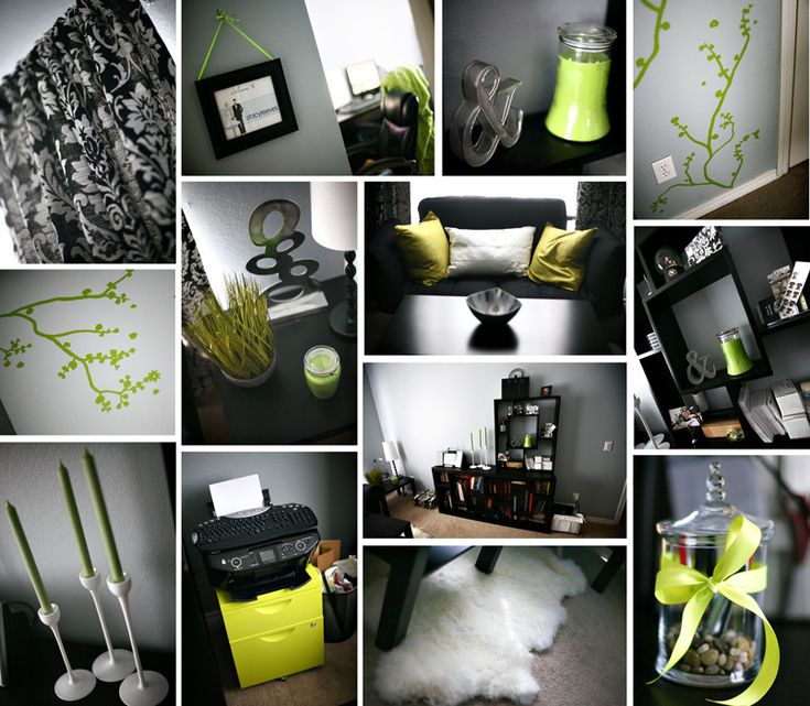 lime green black and white damask office home decor DIY Ikea  Ideas para una fiesta  Pinterest