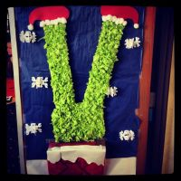My Christmas door at work. The Grinch going down the ...