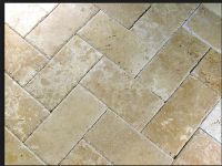 Ivory travertine pavers- herringbone | New Home ...