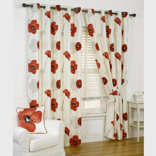 fall kitchen curtains cape cod design ideas opium poppy floral fully lined readymade eyelet ...