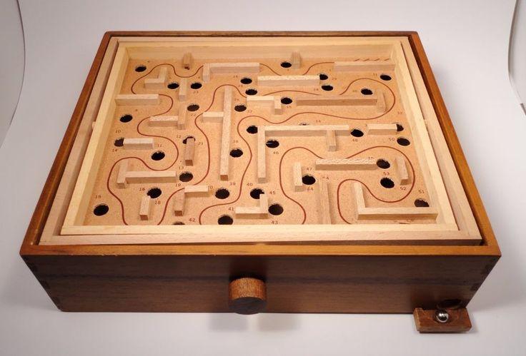 Vtg Large Wooden Walnut Labyrinth Marble Maze Board Game