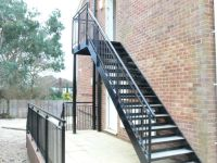 Steel stairs with a powder coated finish. Chequer plate ...