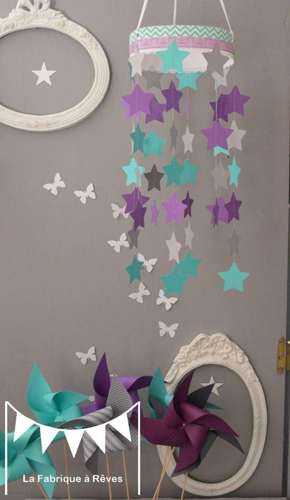 Mobile suspension toiles turquoise gris et violet mauve  dcoration chambre bb enfant garon