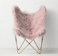 Pink Faux Fur Aged Brass Butterfly Chair | Decor ...