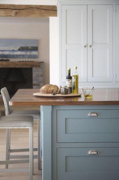 farrow and ball kitchen cabinet colors Farrow & Ball paint Berrington Blue Walnut Island top