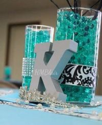 Black & turquoise Sweet Sixteen centerpiece with water ...