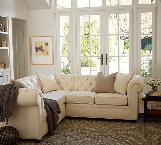 chair bed with arms garden design plans chesterfield 3-piece l-shaped corner sectional, polyester wrapped cushions, textured twill ...