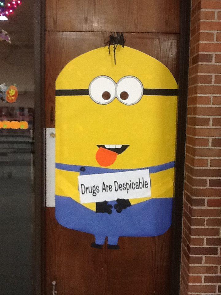 Door decorating for drug free week at school.