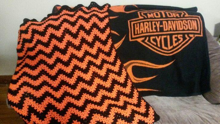 Harley Davidson Zig Zag Afghan Crocheted By Me