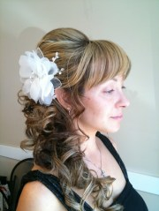 loose curl side ponytail updo
