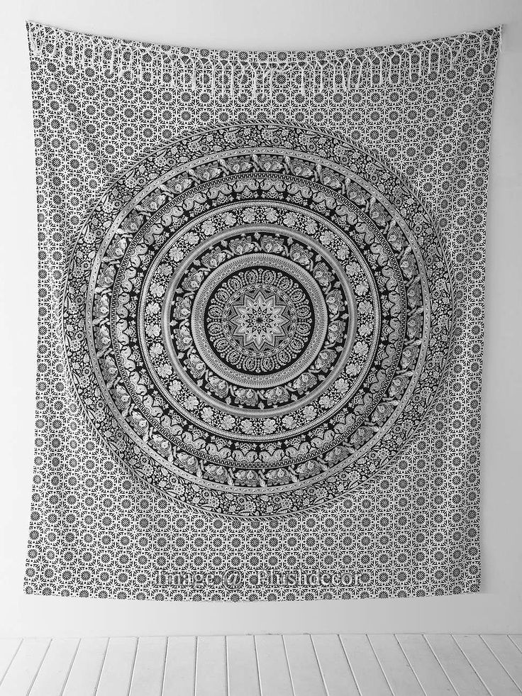 Amazoncom  Black and White Tapestries Elephant Mandala Hippie Tapestry Indian Traditional