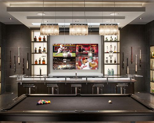 Residential bar with big screen TV and pool table  Wine Cellar Wet Bars Game Rooms  Home