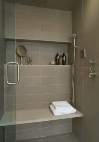 shower shelf, large tile, bench