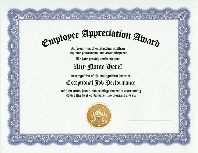 employee appreciation certificate