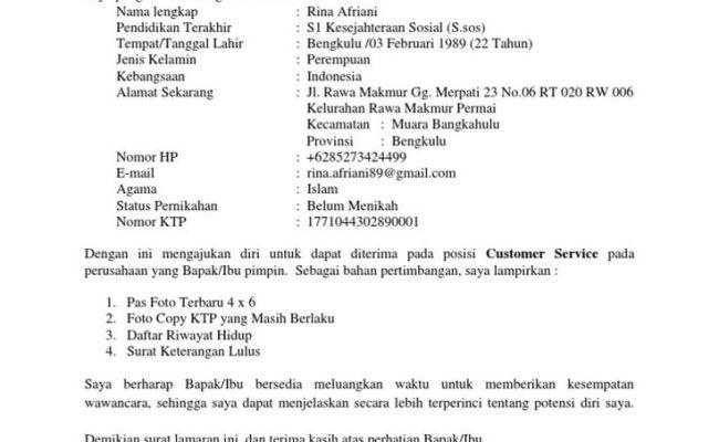 Contoh Surat Lamaran Kerja Ke Pt Pln Persero Kumpulan Kerjaan Cute766