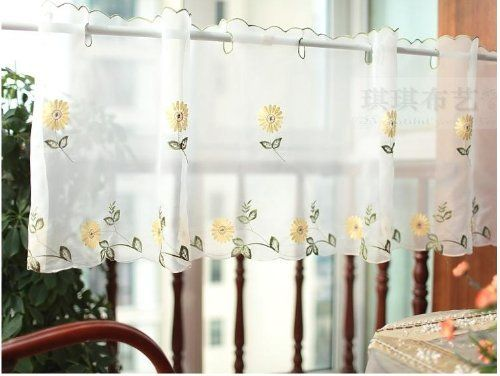 White Sheer Curtain Embroidery Sunflower Half Cafe