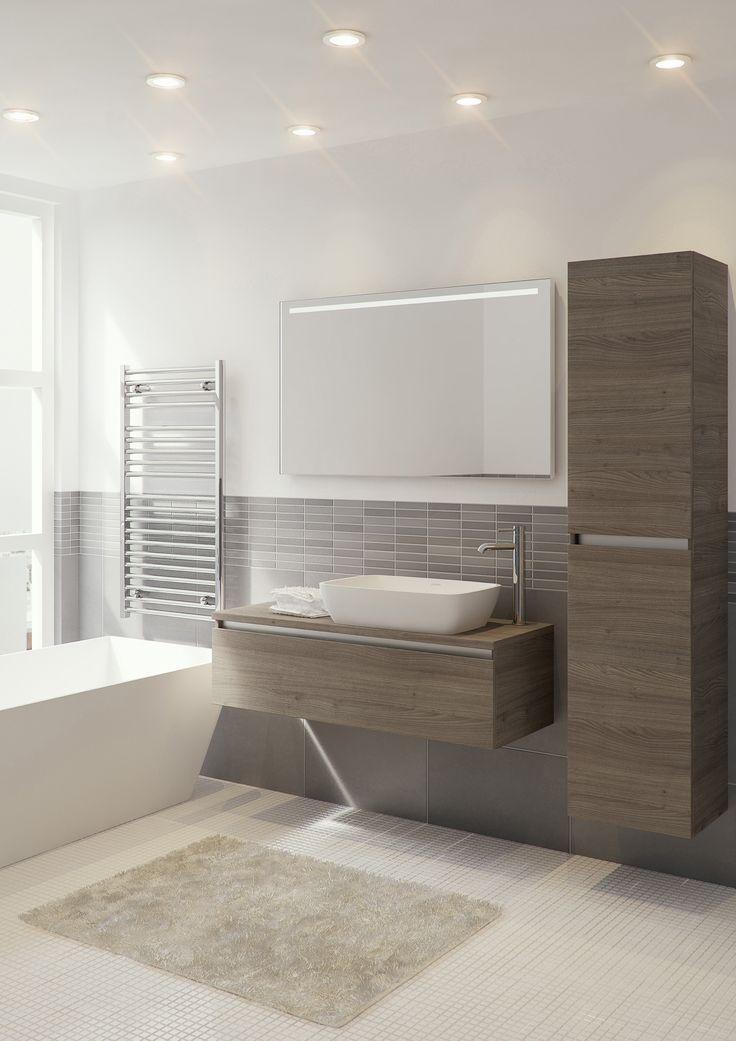 Bruynzeel badmeubel en hoge kast Faro in de kleur tortona  badkamerkast  badkamer idee