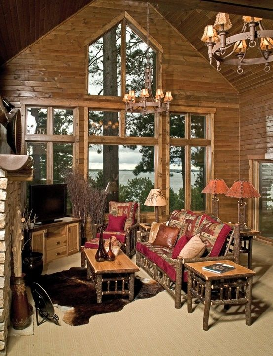 Hickory Gathering Room Example Rustic Log FurnitureCabin