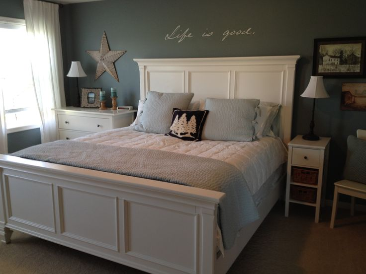 My room  Blue  white bedroomPottery Barn pick stitch