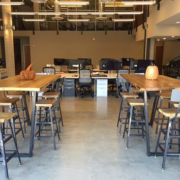 High top communal tables and bar height tables bar stools