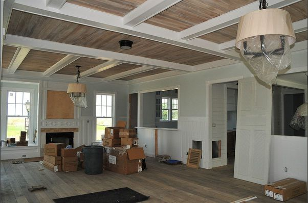 grey and white living room paint ideas glass top tables ceiling. floors. beams. stained tongue groove ...