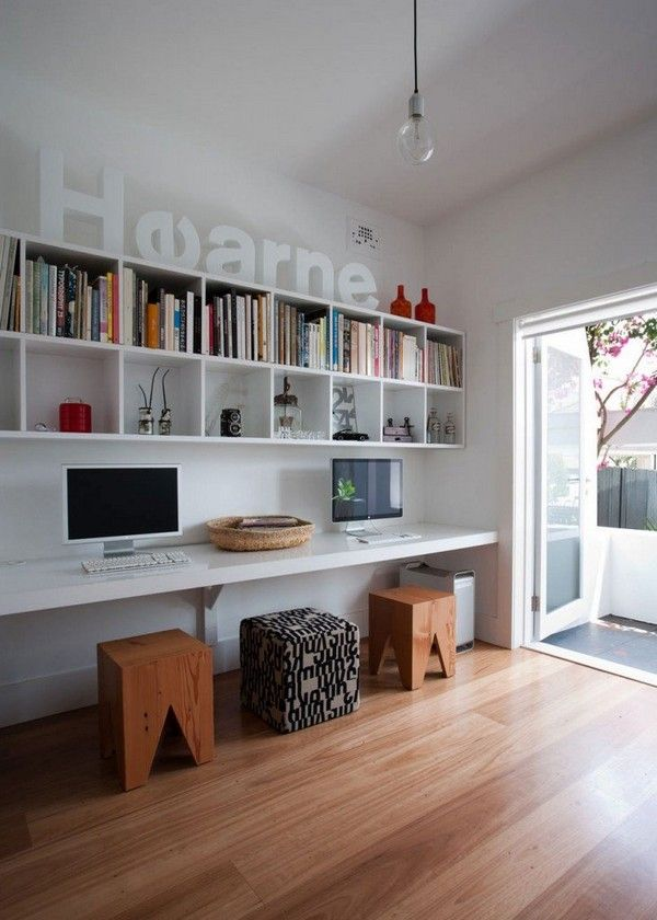 Love the cube wall shelving at a nice height above the desks. Looking at doing this with Expedit shelving from Ikea.: