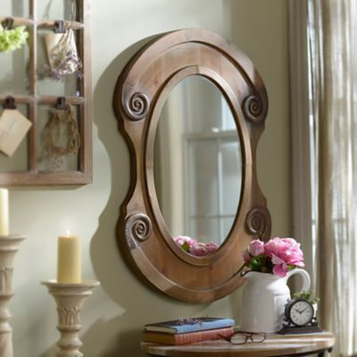 Rustic Natural Oval Framed Mirror 25x36 in  Antiques