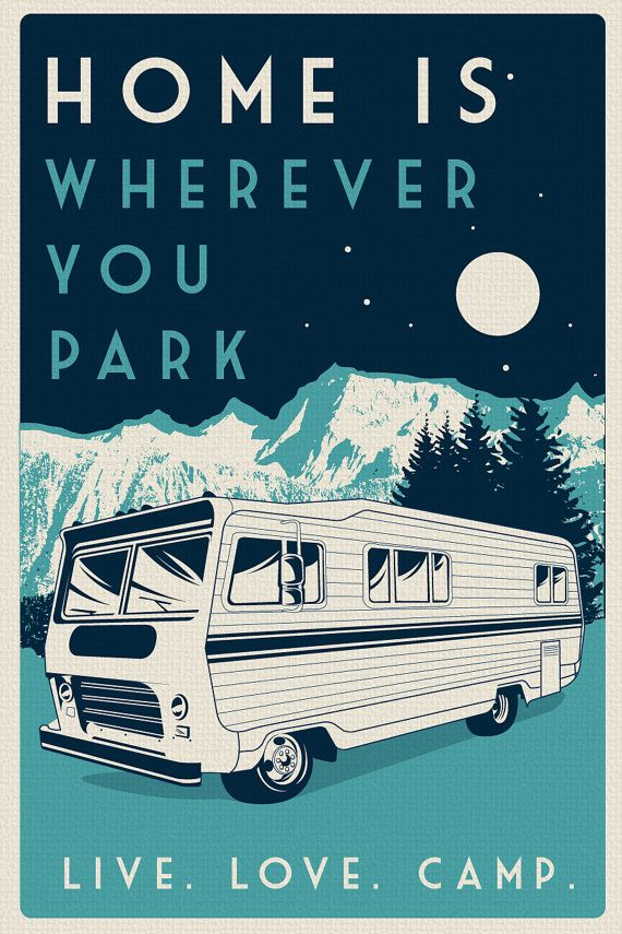 vintage retro camping silk screen print poster live love camp camper night sky –
