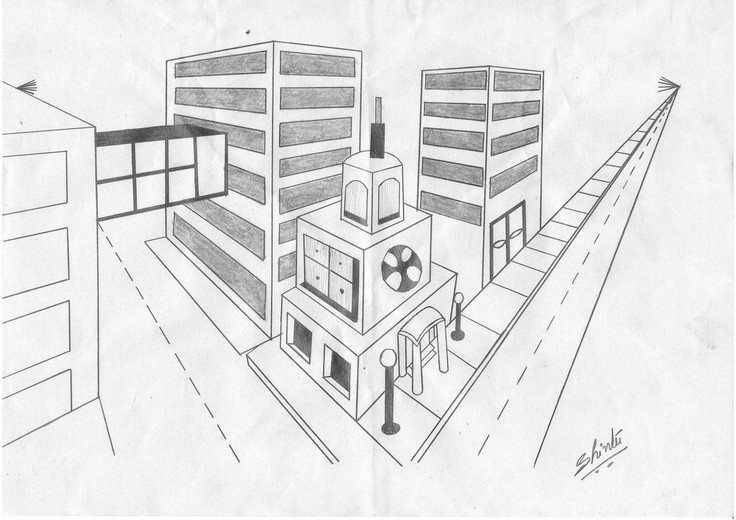 Students work: out door study of 2 point perspective(1